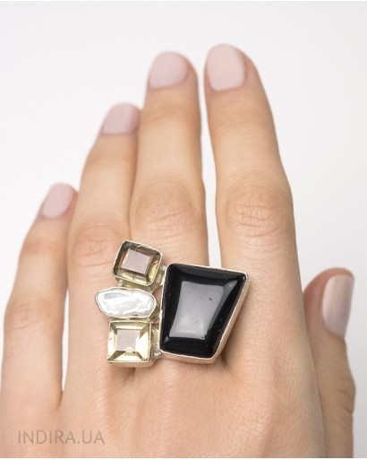 Black Agate, Citrine and Baroque Pearl Ring