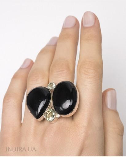 Кольцо с черным агатом и зеленым аметистом