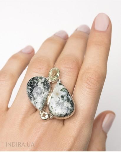 Green Amethyst and Jasper Ring