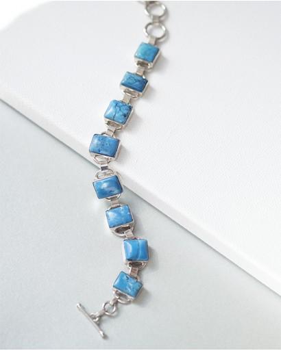 Дендритовый голубой опал, браслет