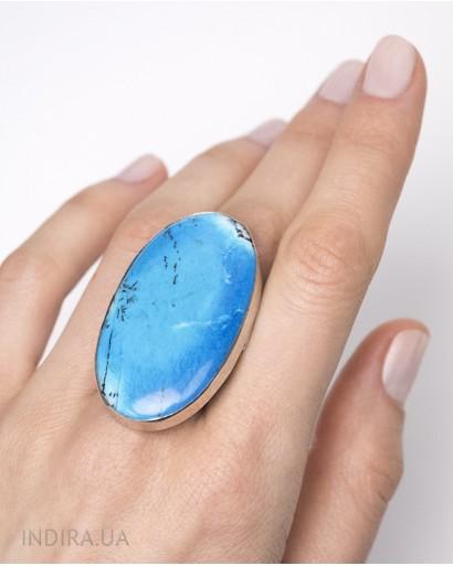 Кольцо с голубым дендритовым опалом