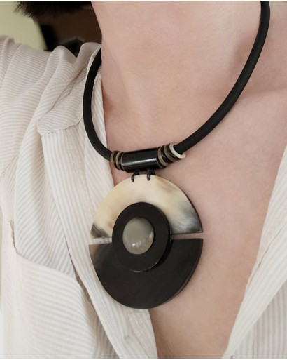 Rubber Cord Horn Pendant