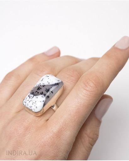 Кольцо с дендритовым опалом