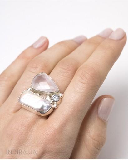 Rose Quartz and Baroque Pearl Ring