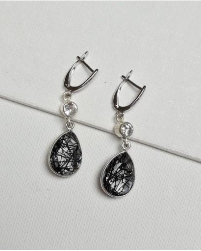 Rutile Quartz and Zircon Earrings