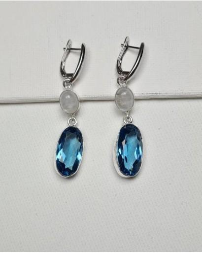 Moonstone and Blue Quartz Earrings