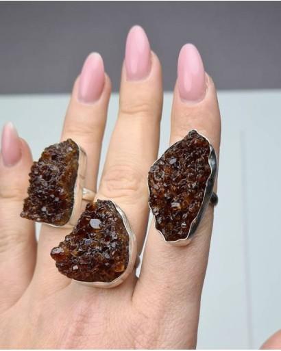 Citrine Druze Ring