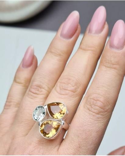Citrine and Zircon Ring