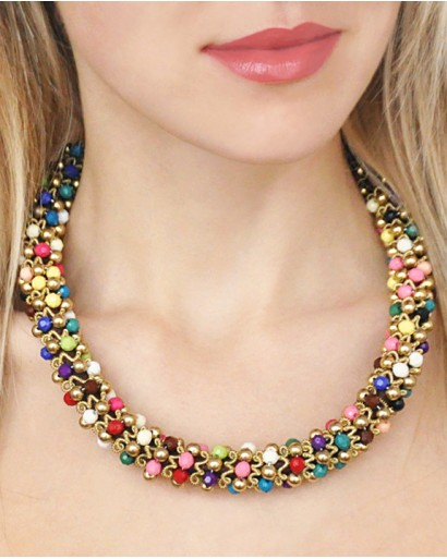 Necklace with plastic beads and metal