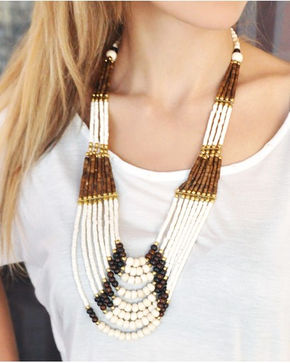 Brown and white bone necklace