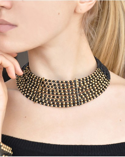 Black bead collar