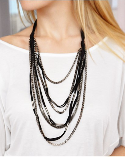 Suede lace and metal necklace