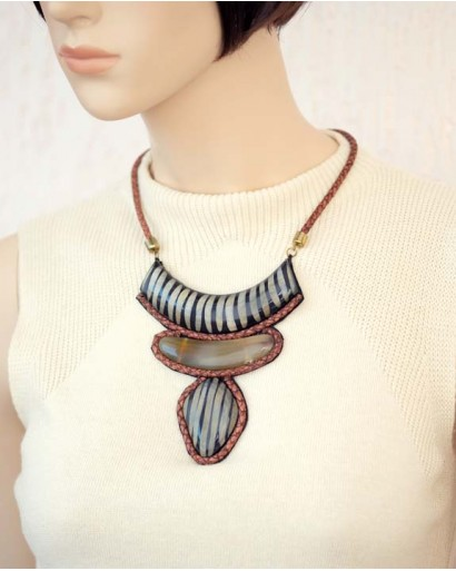 Horn and Leather Necklace