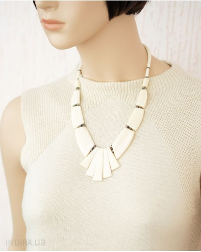 Orange and White Bone Necklace