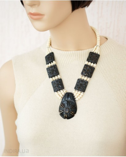 White and Brown Bone Necklace