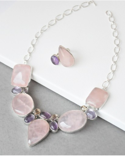 Rose quartz and amethyst necklace with a ring