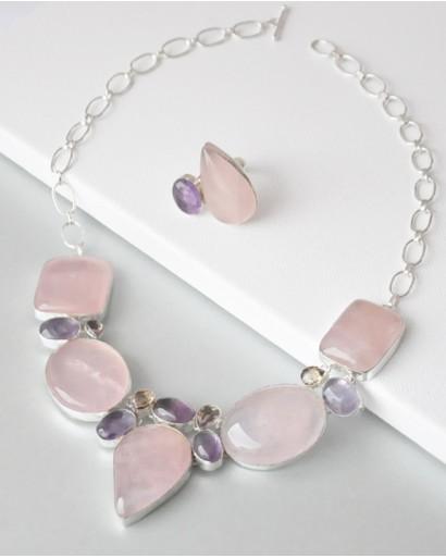 Колье с кольцом из розового кварца и аметиста