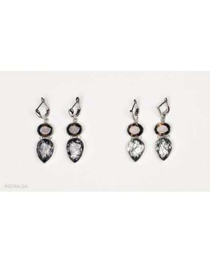 Smoky Quartz and Rutile Quartz Earrings