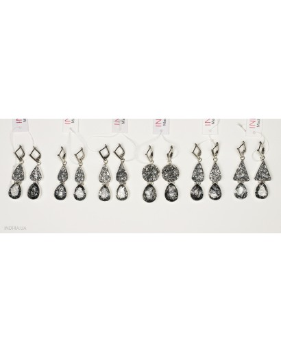 Rutile Quartz and Gray Druzy Agate Earrings