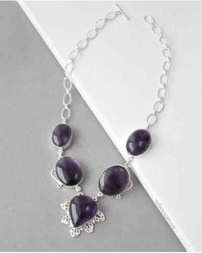 Amethyst Necklace German Silver
