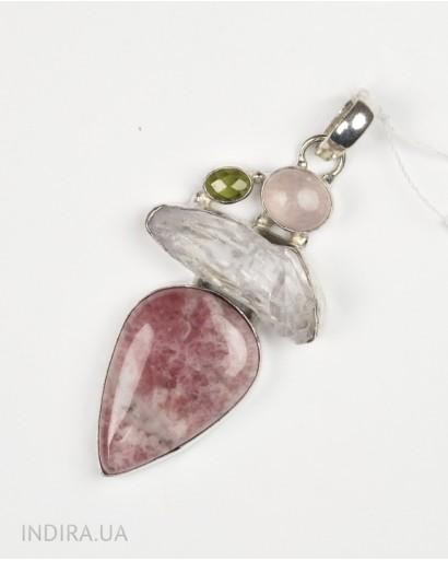 Rhodonite, Rose Quartz, Prenit, Quartz Druzy Pendant