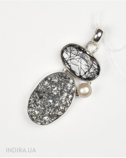 Rutile Quartz, Pearl and Gray Druzy Agate Pendant