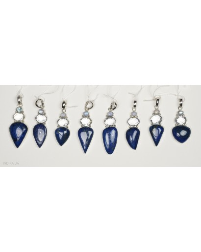 Lapis Lazuli, Rock Crystal and Moonstone Pendant