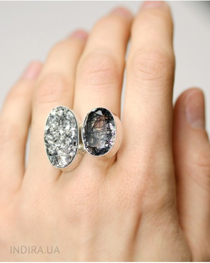Rutile Quartz and Gray Druzy Agate Ring