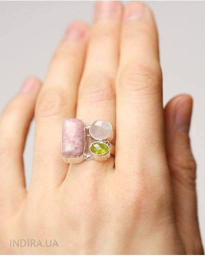 Rhodonite, Rose Quartz and Prenit Ring