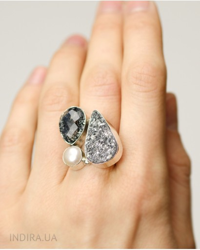 Rutile Quartz, Gray Druzy Agate and Pearl Ring