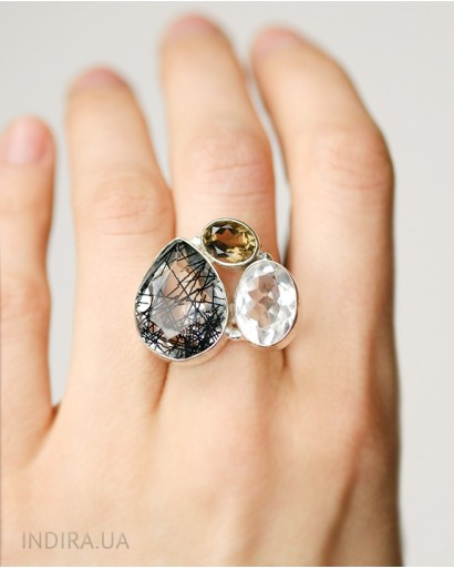 Rutile Quartz, Rhinestone and Smoky Quartz Ring