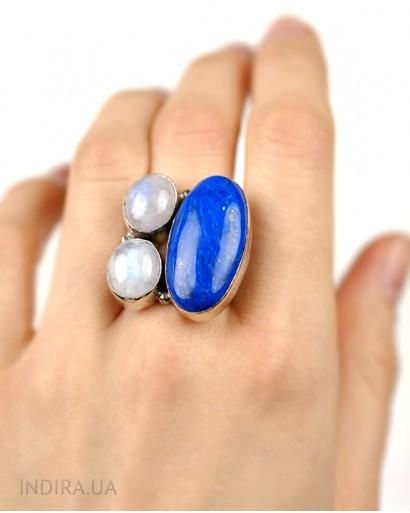 Lapis Lazuli and Moonstone Ring